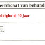 Certificaat van behandeling met geldigheid van 10 jaar